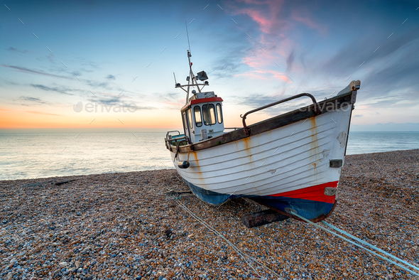 Fishing Boat on the Kent coast - Stock Photo - Images