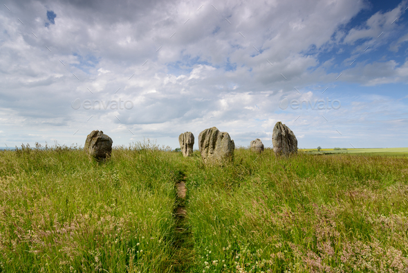 Summer at the Duddo Stone Circle - Stock Photo - Images