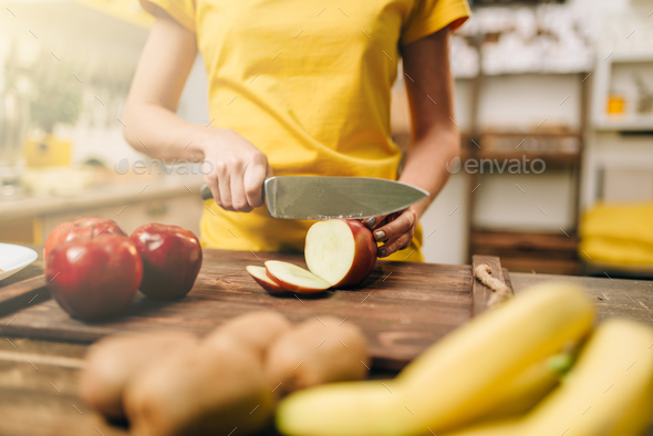 Female person cooking, healthy bio food preparing - Stock Photo - Images