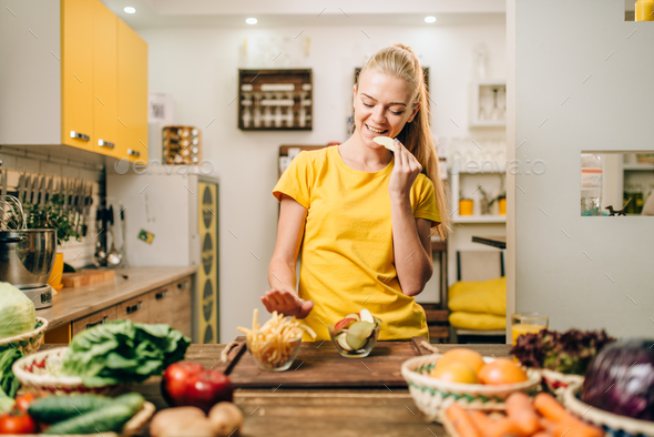 Female person cooking, organic food preparing - Stock Photo - Images
