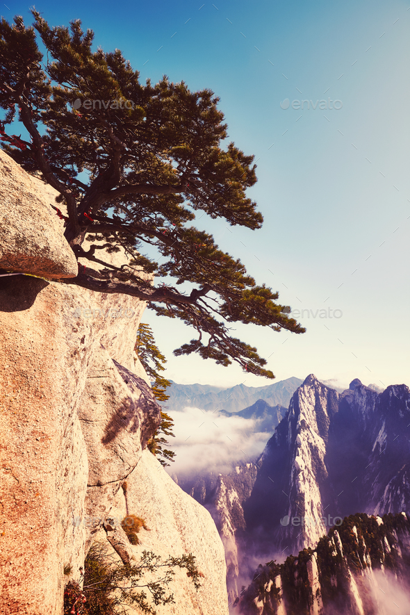 Scenic view from the Mount Hua, China. - Stock Photo - Images