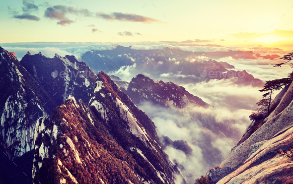Mount Hua at sunset, China. - Stock Photo - Images