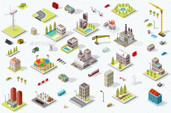 Isometric City Map Set - Vectors