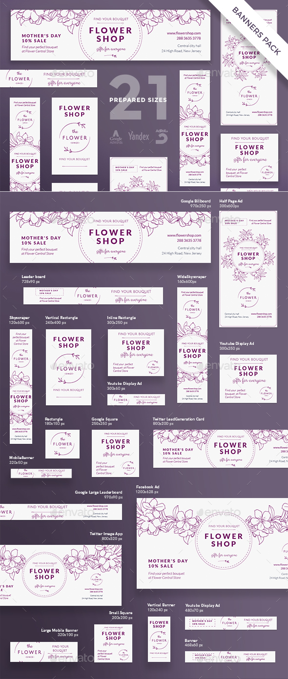 Flower Shop Banner Pack - Banners & Ads Web Elements