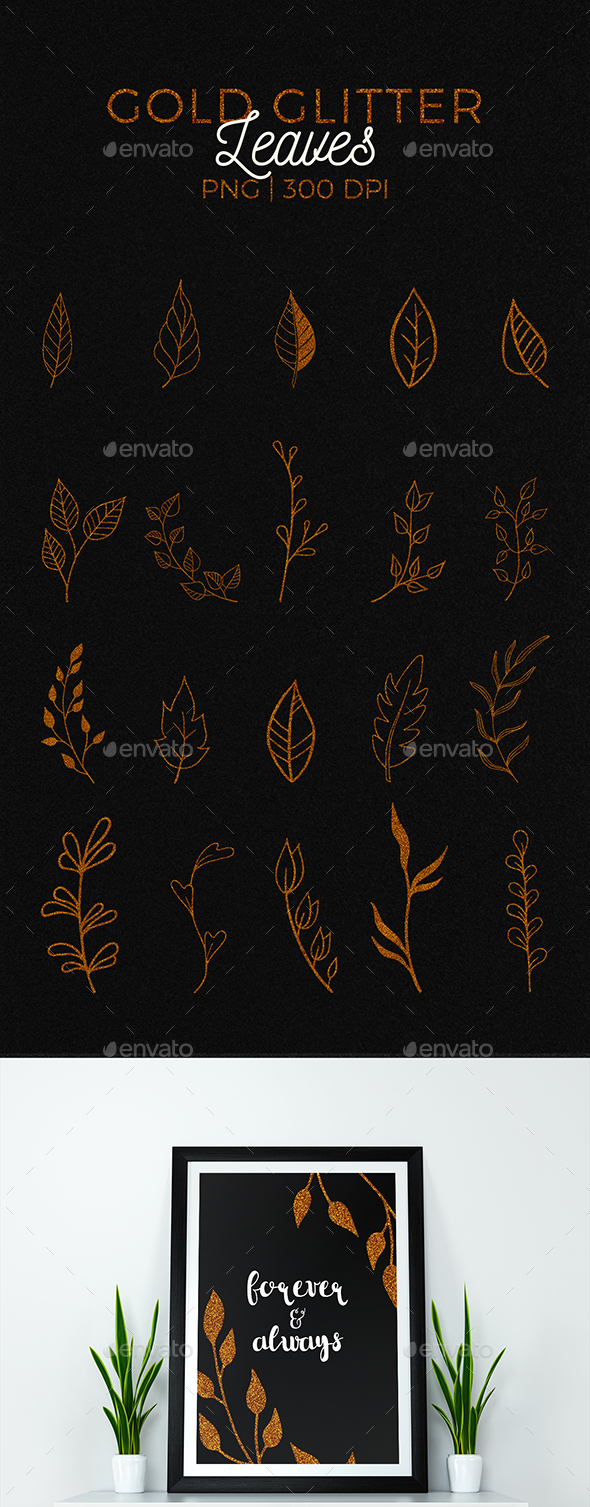 20 Gold Glitter Leaves - Miscellaneous Illustrations