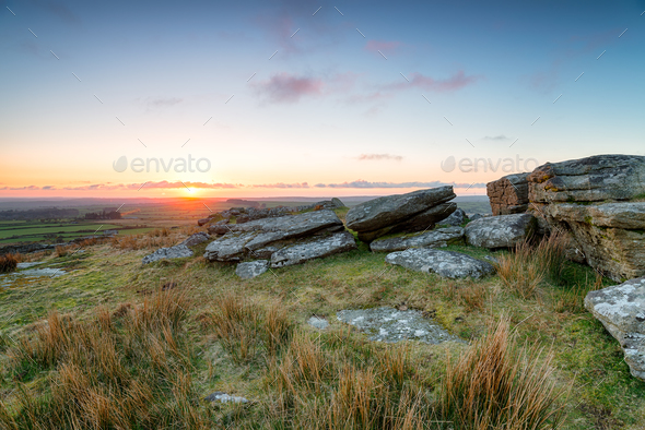 Sunset over Bodmin Moor - Stock Photo - Images