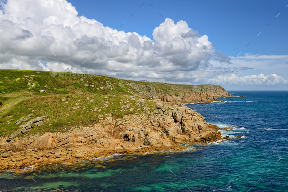 Cliffs at Porthgwarra in Cornwall - Stock Photo - Images