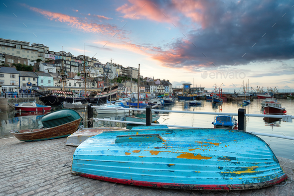 Sunset at Brixham - Stock Photo - Images