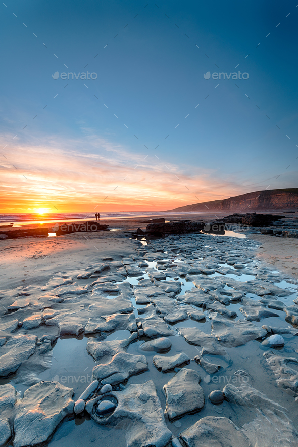 Sunset at Dunraven Bay - Stock Photo - Images