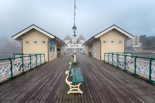 Foggy Weather at Penarth Pier - Stock Photo - Images