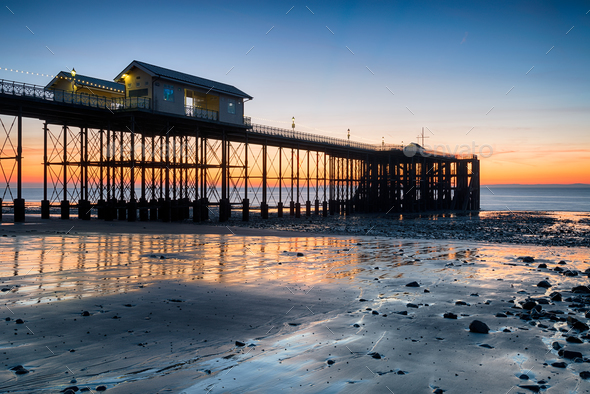 Sunrise at Penarth Pier in Wales - Stock Photo - Images