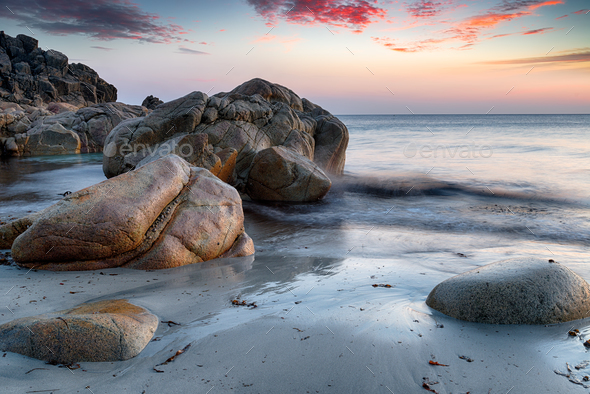 Boulders at Porth Nanven - Stock Photo - Images