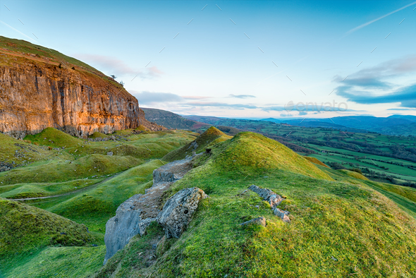 The Llangattock Escarpment in Wales - Stock Photo - Images