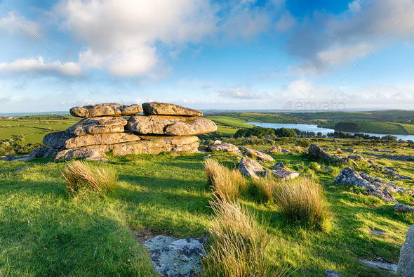 The View From Tregarric Tor in Cornwall - Stock Photo - Images