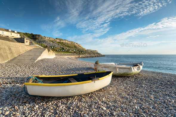 Boats at Chesil Cove - Stock Photo - Images