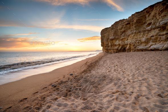 Cliffs at Burton Bradstock in Dorset - Stock Photo - Images
