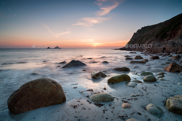 Sunset at Porth Nanven Beach - Stock Photo - Images