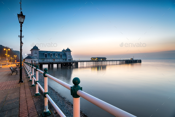 Dawn at Penarth Pier - Stock Photo - Images