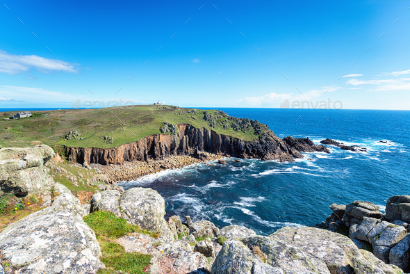 Porth Loe on the Cornish Coast - Stock Photo - Images