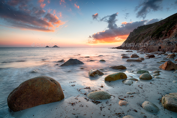 Sunset on a Cornish Beach - Stock Photo - Images
