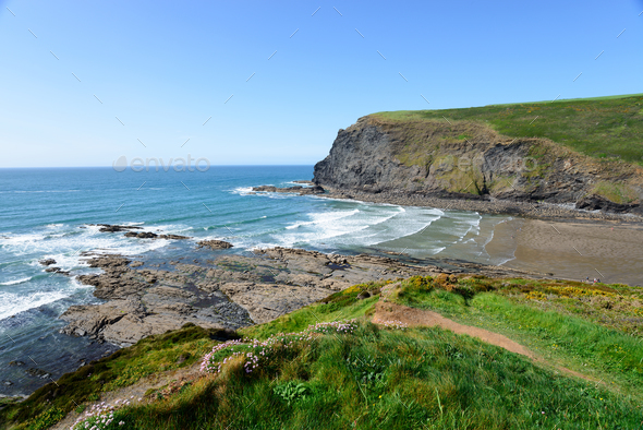 Crackington Haven in Cornwall - Stock Photo - Images