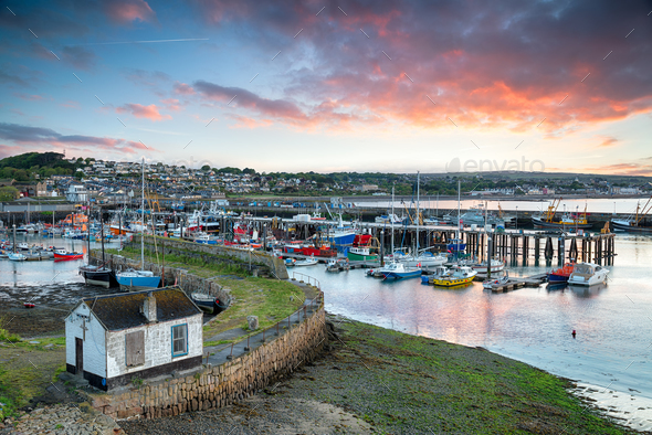 Sunrise at Newlyn in Cornwall - Stock Photo - Images