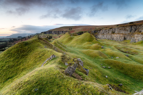 Llangattock Escarpment in the Brecon Beacons - Stock Photo - Images