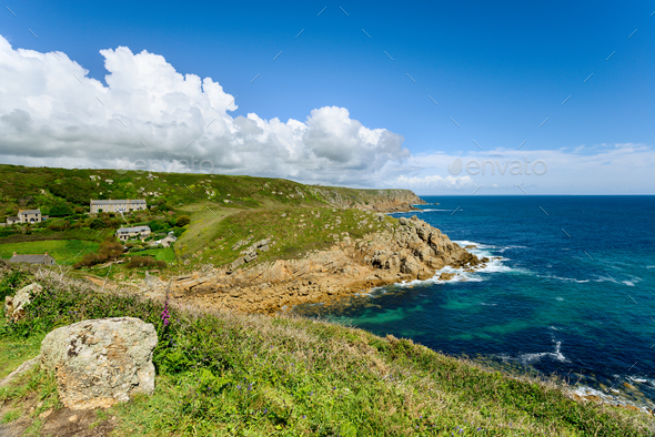 Porthgwarra on the Cornish Coast - Stock Photo - Images