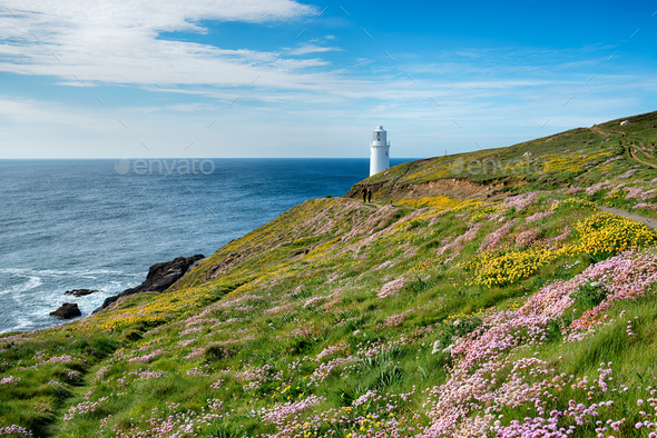 Trevose Lighthouse in Cornwall - Stock Photo - Images