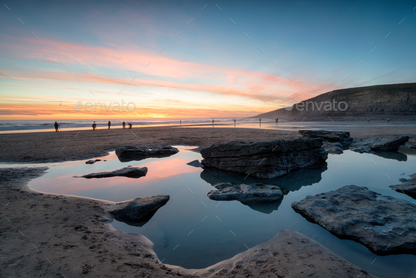 Dunraven Bay in Wales - Stock Photo - Images