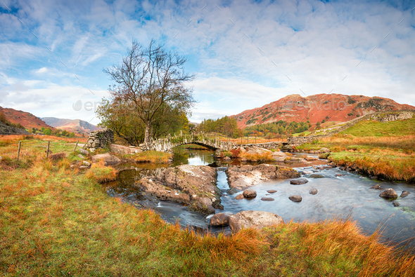 Slater's Bridge in the Lake District - Stock Photo - Images