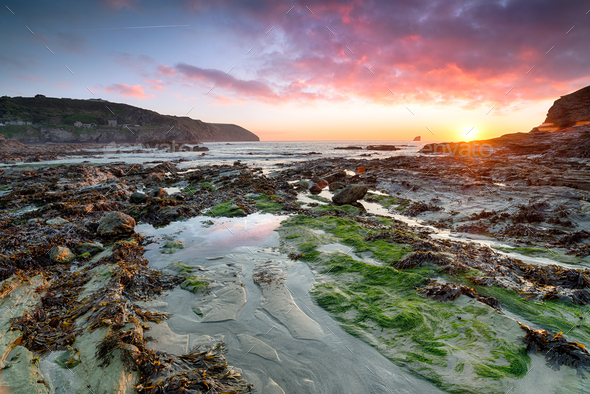 Beautiful sunset at Trevellas Coombe - Stock Photo - Images