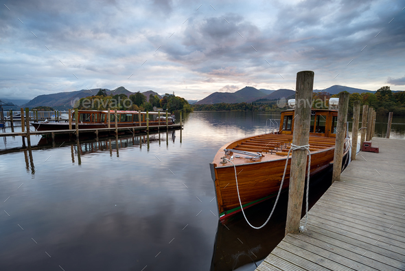 Wooden Boats at Keswick - Stock Photo - Images