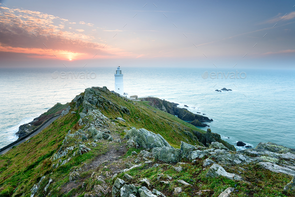 Start Point Lighthouse in Devon - Stock Photo - Images