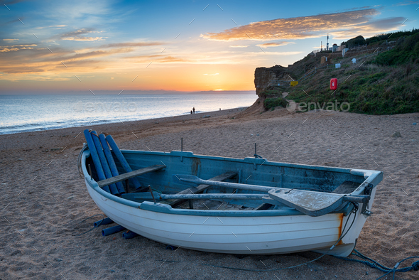 Sunset over Hive Beach in Dorset - Stock Photo - Images