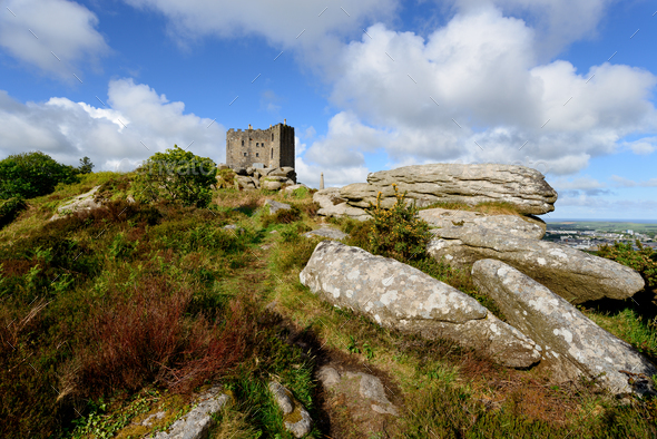 The Castle at carn Brea in Cornwall - Stock Photo - Images