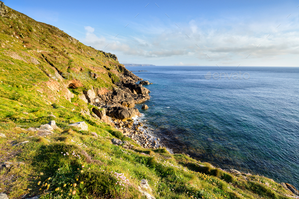Porth Nanven Cliffs - Stock Photo - Images