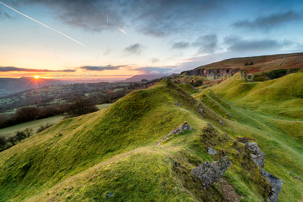 Sunrise in the Brecon Beacons - Stock Photo - Images