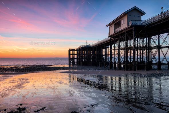 Dawn at Penarth Pier - Stock Photo - Images