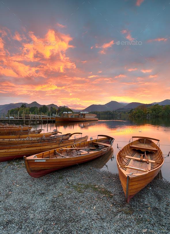 Boats at Keswick - Stock Photo - Images