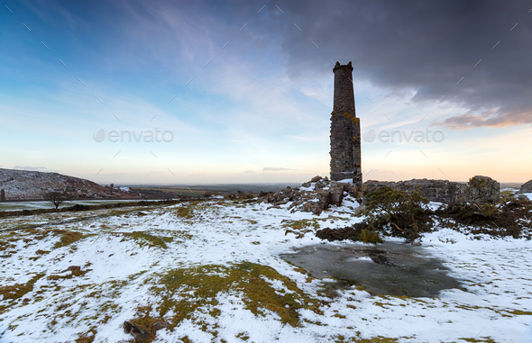 Snow on Bodmin Moor - Stock Photo - Images