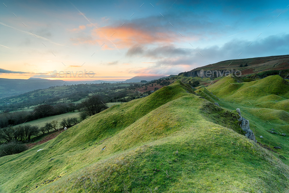 Dawn at the Llangattock Escarpment - Stock Photo - Images