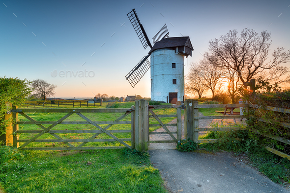 Ashton Windmill in Somerset - Stock Photo - Images