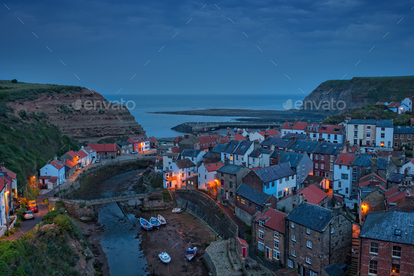 Staithes at Night - Stock Photo - Images