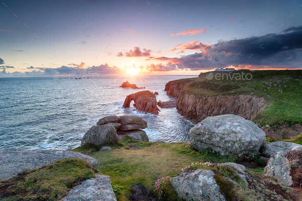 Sunset at Land's End in Cornwall - Stock Photo - Images
