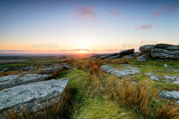 April Sunset on Bodmin Moor - Stock Photo - Images