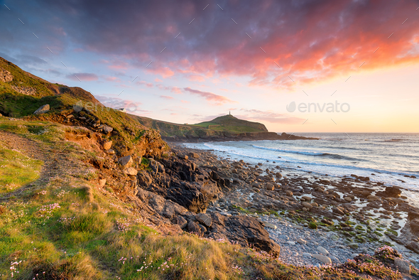 Sunset over Cape Cornwall - Stock Photo - Images