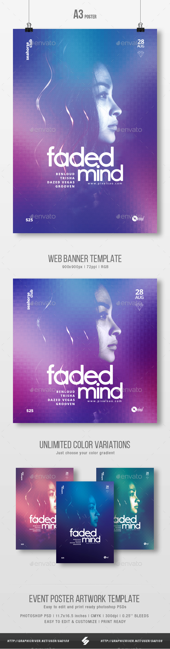 Faded Mind - Minimal Party Flyer / Poster Template A3 - Clubs & Parties Events