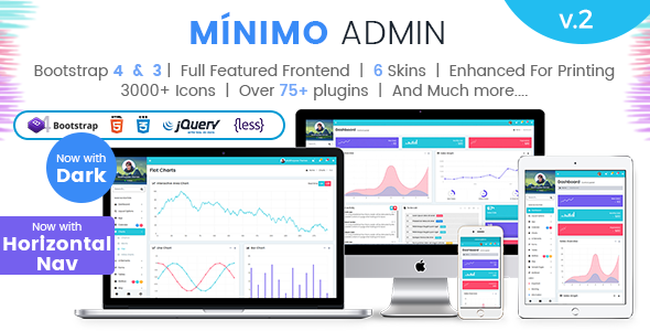 Image of Minimo Pro - Responsive Bootstrap 4 & 3 Admin Dashboard Template, UI and WebApp Template