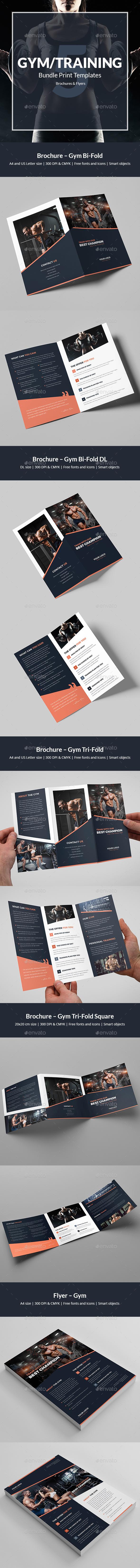 Gym – Bundle Print Templates 5 in 1 - Corporate Brochures